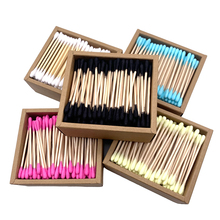 200Pcs Color Mix Bamboo Cotton Double Head Adults Makeup Cotton Swab Microbrush Wood Sticks Nose Ears Cleaning Health Tools