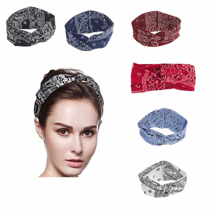1 ud. Diadema para mujeres Yoga deporte banda elástica Floral para el cabello turbante trenzado anudado adulto algodón mezcla tela