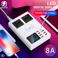 8 Ports Wireless Charger Led Digital Display USB Charger For Android iPhone Adapter Phone Fast Charger For xiaomi huawei samsung