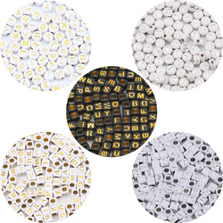 200pcs 6-7mm Mixed Gold Silver Color Acrylic Letter Beads Square Loose Spacer Beads For Jewelry Making Diy Bracelet Accessories