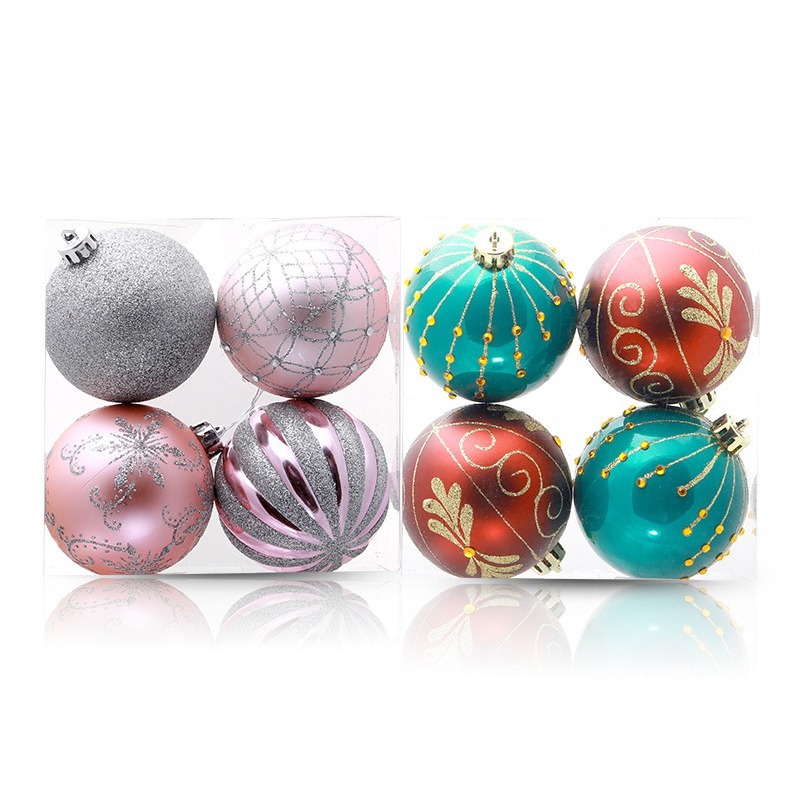 4pcs Glittering Decorative Hanging Christmas Ball Ornaments Christmas Baubles Xmas Tree Pendants Holiday Party Decorations in Ball Ornaments from Home Garden
