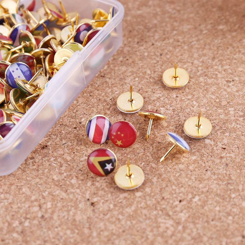 100pcs/box Map Tacks National Flag Glue Thumbtack Push Pins Notice Board Markers L41E