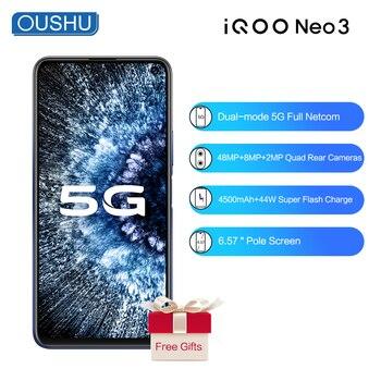 Перейти на Алиэкспресс и купить IQOO neo 3 двухрежимный 5G смартфон 6G 128G 6,57 ''гоночный экран 48MP Тройная задняя камера 4500mAh аккумулятор 44W зарядка от вспышки