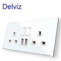 Delviz UK standard USB Buchse, Switch control Panel, 13A Britischen Doppel Power Jack, weiß 146mm * 86mm, Gehärtetem Glas Wand Outlet