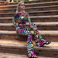 Hugcitar 2019 backless sexy autumn winter women flare jumpsuit romper streetwear print rainbow club party striped bodycon body