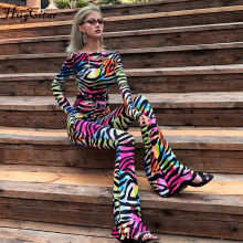 Hugcitar 2019 backless sexy autumn winter women flare jumpsuit romper streetwear print rainbow club party striped bodycon body(China)