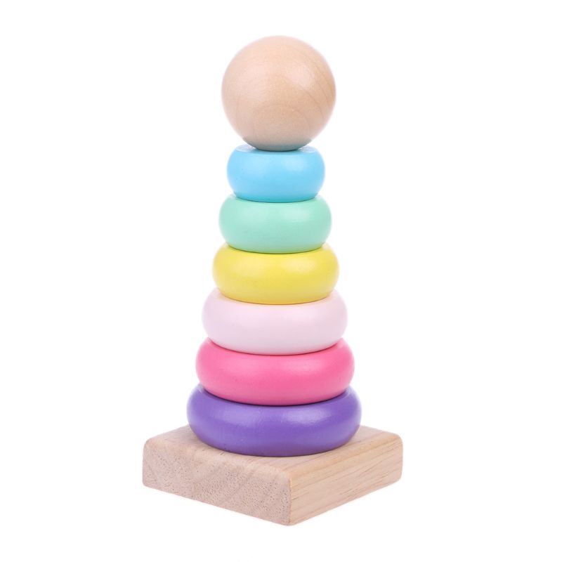 New Warm Color Rainbow Stacking Ring Tower Stapelring Blocks Wood Toddler Baby Toys