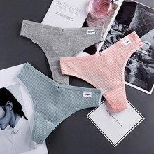 String Culotte Coton femmes Sous-Vêtements Confortable Décontracté T retour Femelle Couleur Unie Taille Basse String Lingerie Intime