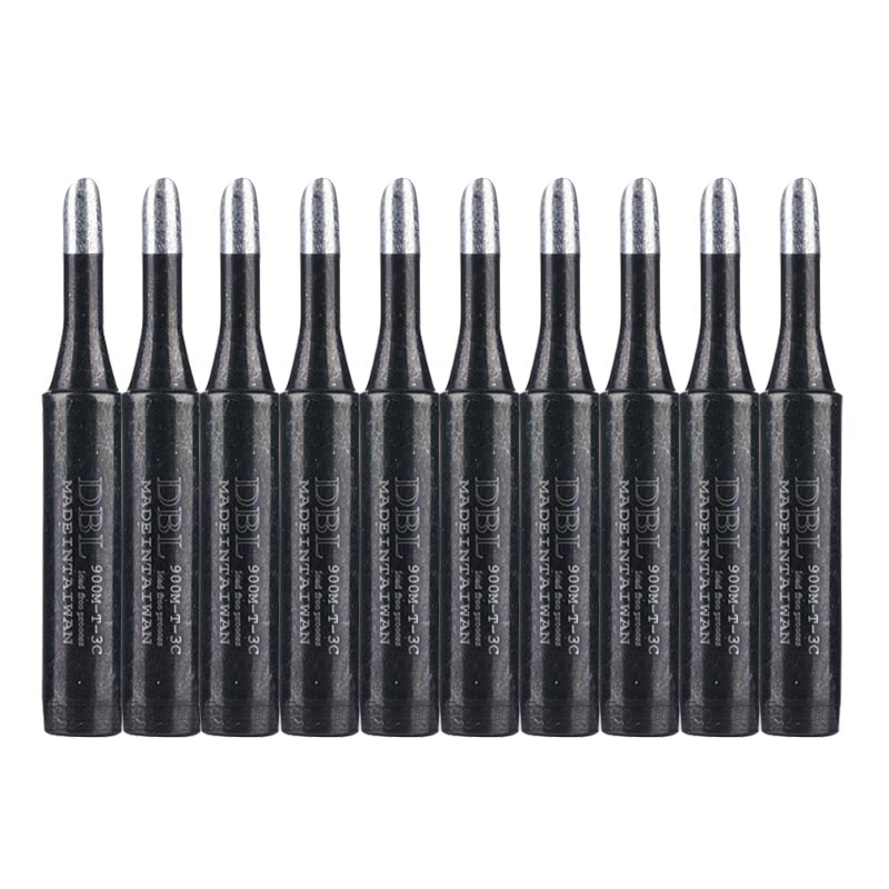10pcs/lot Black 900M-T-3C Lead-Free Replaceable Soldering Iron Tip S For 936 Solder Station Rework Tool