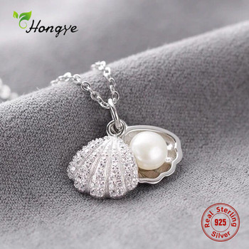 Hongye Women Real Natural Freshwater Pearl Necklace 925 Sterling Silver Pendants Shell Necklace Wedding Classic Fine Jewelry shilovem 925 sterling silver piezoelectricity amethyst rings pendants fine jewelry send necklace new wedding plant mtz1014992agz