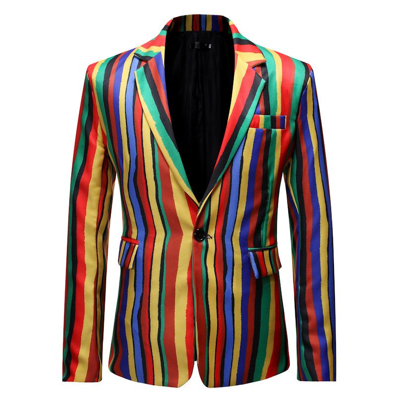 2020 New Men's Casual Striped Suit Young Fashion Color Of The Suit