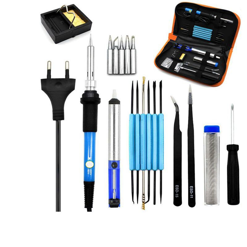 FashionEu Plug 220v 60w Adjustable Temperature Electric Soldering Iron Kit+5pcs Tips Portable Welding Repair Tool Tweezers Solde