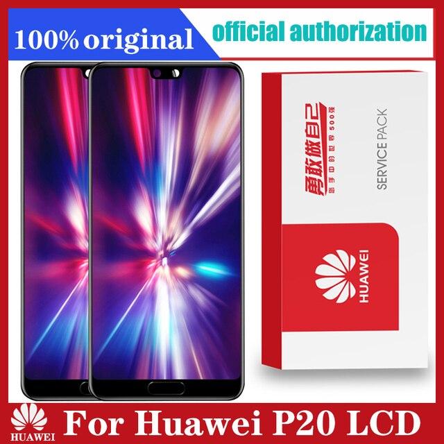 100% Original Display with Knuckle screenshot frame Fingerprint for Huawei P20 LCD Touch Screen EML L09 EML L22 EML L29 EML AL00