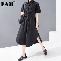 Женское платье-рубашка EAM, черное платье-рубашка большого размера с отворотом и коротким рукавом, весенне-летняя мода 2020 1U06501