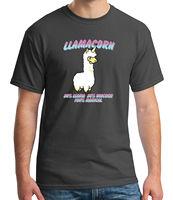 Lama Corn Adult's T shirt LLAMA Furry Fluffy Magic Unicorn Tee for Men 2141C
