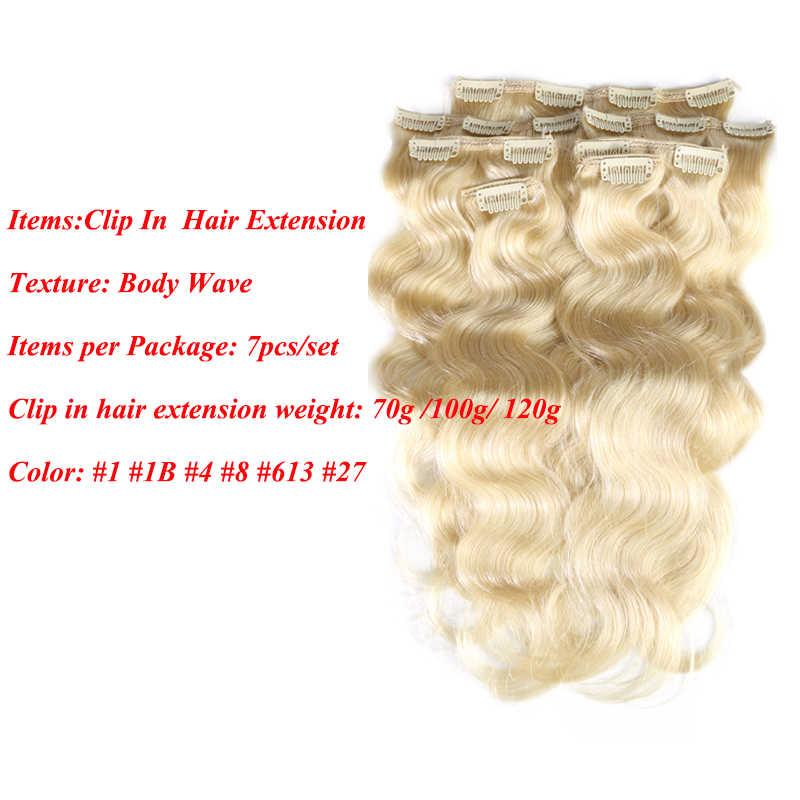 Addbeauty klip na całą głowę brazylijski maszyna wykonana Remy włosy #1 # 1B #4 #8 #613 #27 #32 ciało fala klip w ludzkich włosów do przedłużania włosów
