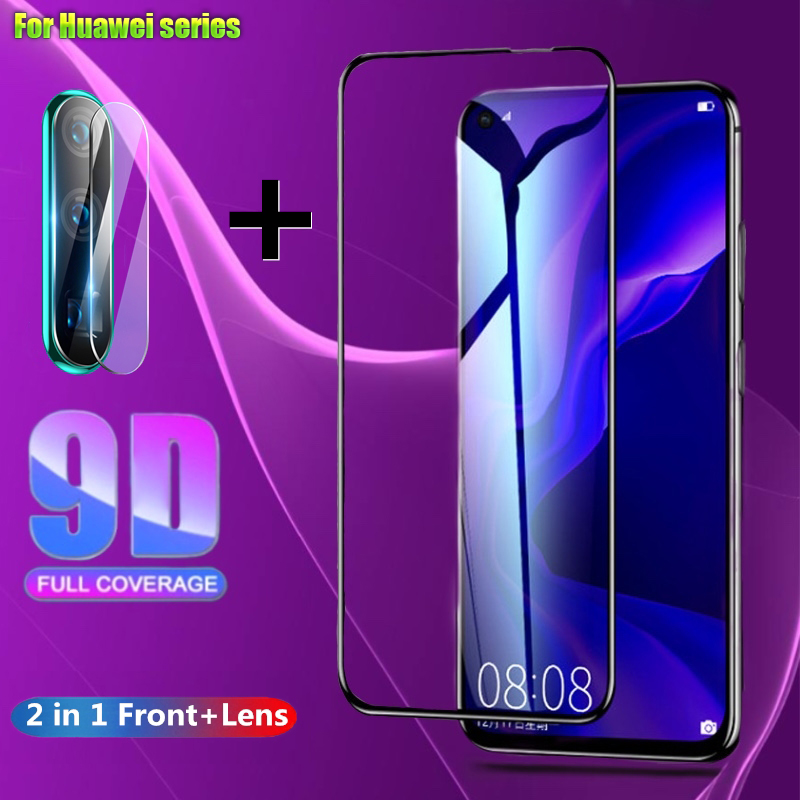 2 In 1 Full Cover 9D Tempered Glass For Huawei P30 P20-Lite P20-Pro Honor 10 20 Lite 10i 20i 8X 9X 9X-Pro Screen Protector Film