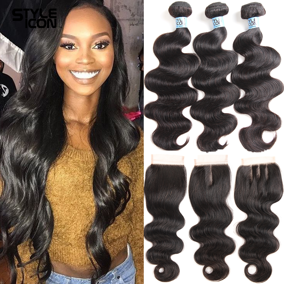 30 Inches Body Wave Human Hair Bundles With Closure Malaysian 3 or 4 Bundles With Closure Non-Remy Body Waves With Lace Closure