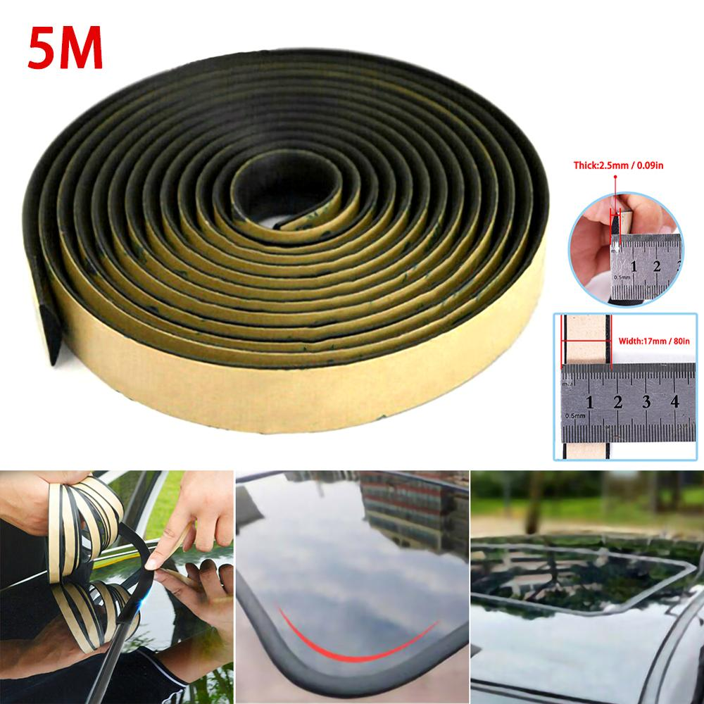 5M Rubber Seal Strip Trim For Car Dashboard Gap Filling Noise Insulation Windshield Gap Soundproof Car Windshield Sunroof