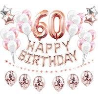 38 шт./компл. 60th День рождения воздушные шары 60 лет День рождения украшения для взрослых для воздушных шаров, Юбилей гелия Фольга номер/воздуш...