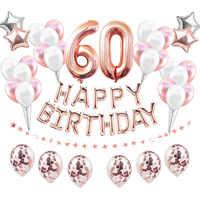 38 pièces/ensemble 60th ballons d'anniversaire 60 ans décorations de fête d'anniversaire Ballon adulte anniversaire feuille d'hélium numéro Ballon