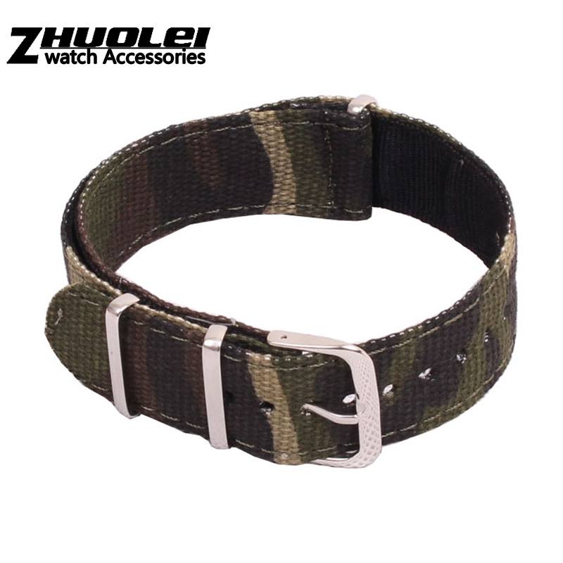 Wholesale Price Canvas Strap For Nato Zulu Wristband Nylon With Stainless Steel Rings Camouflage Army Green 20mm Bracelet