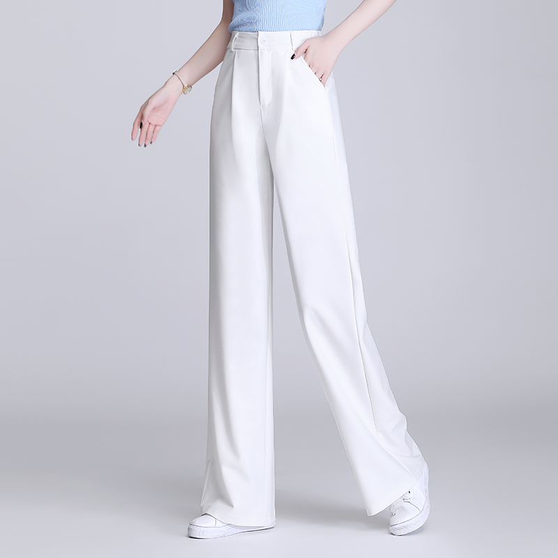 Elegant Office Trousers Women Autumn High Waist oversize Pants Loose Wide Leg Ladies Trousers Fashion White Pant With Pocket