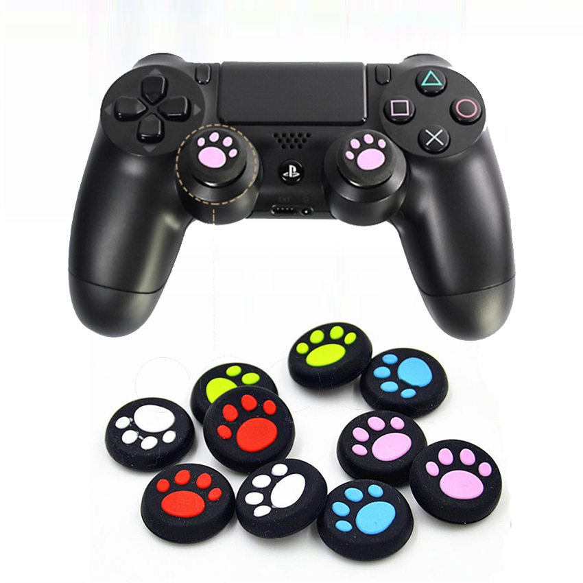2X Cat Paw Thumb Stick Grip Cap Soft Silicone Joystick Cover Case for Sony Playstation Dualshock 4 PS4/Xbox One Controller