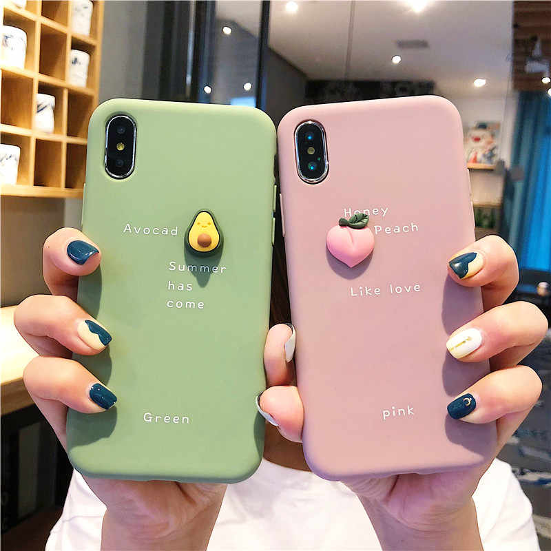 Милый 3D чехол для телефона с фруктами для iphone X, XR, XS, 11 Pro, MAX, Мягкая силиконовая задняя крышка для iphone 7, 8, 6 S, 6 S Plus, однотонный чехол