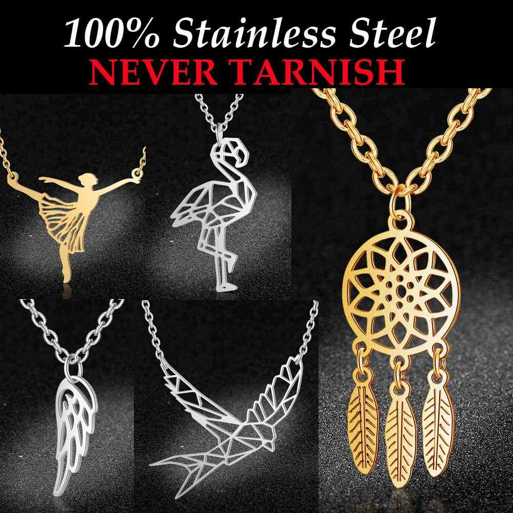 100% Stainless Steel  Animal Cat Sea Gull Butterfly Monkey Pendant Necklace for Women Dream Catcher Boho Yoga OM Fashion Jewelry
