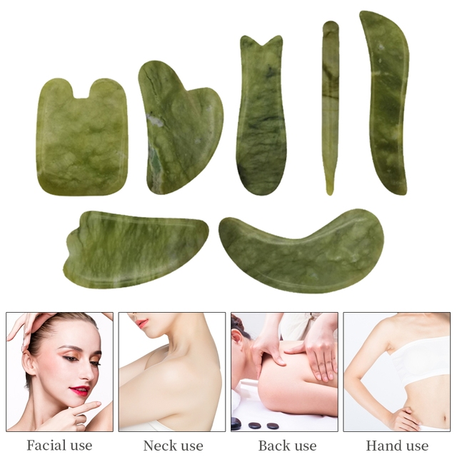 Newest Hand Made Gua Sha Board Anti Aging Olive Green Facial Body Massage Spa Acupuncture Tool Natural Relaxing Healing Stone 1
