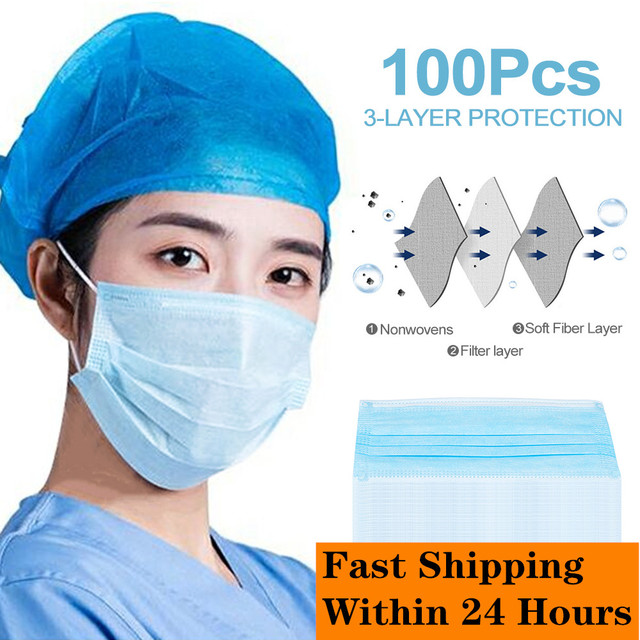 100Pcs Disposable Mask 3 Layers Protection Flu Mouth Mask Isolates Bacteria Fast Delivery