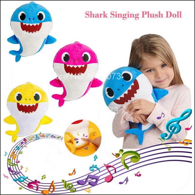 Baby Cartoon Shark Soft Shark Doll Stuffed Plush Toys Mommy Shark Daddy Shark Singing English Whole Song For Kids