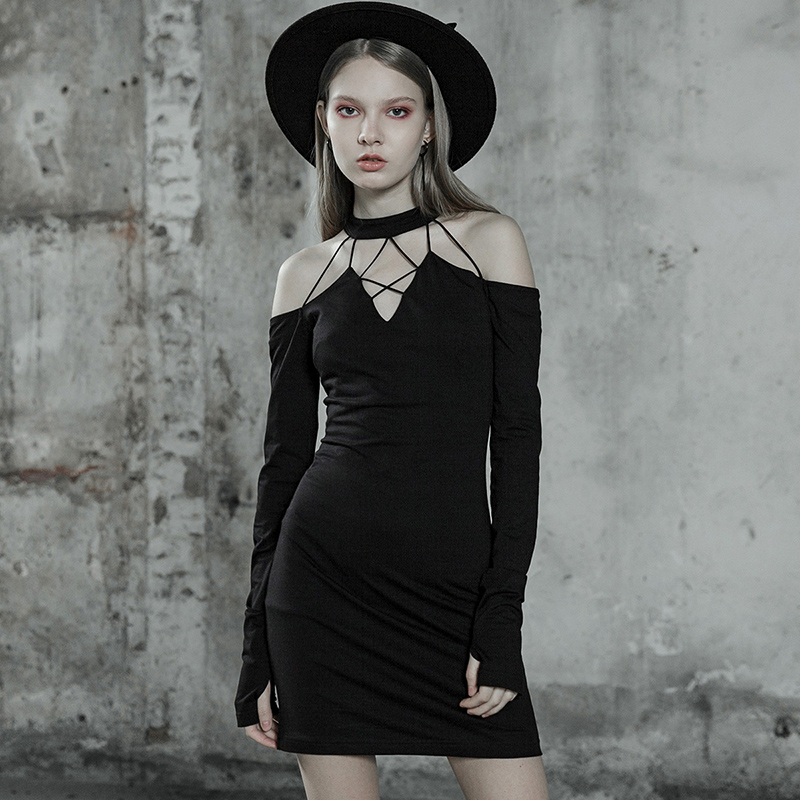 PUNK RAVE Girls Black <font><b>Halter</b></font> <font><b>Dress</b></font> <font><b>Sexy</b></font> Club Wear Slim <font><b>Dress</b></font> Women Gothic <font><b>Style</b></font> Off Shoulder <font><b>Sexy</b></font> <font><b>Dress</b></font> image