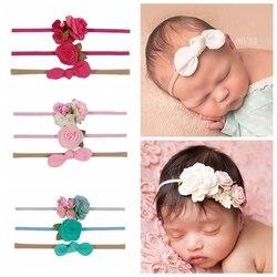Новинка 3 шт./лот шифоновый бант лист цветок нейлоновая Детская повязка на голову розовый цветочный новорожденный головной убор для маленьк...