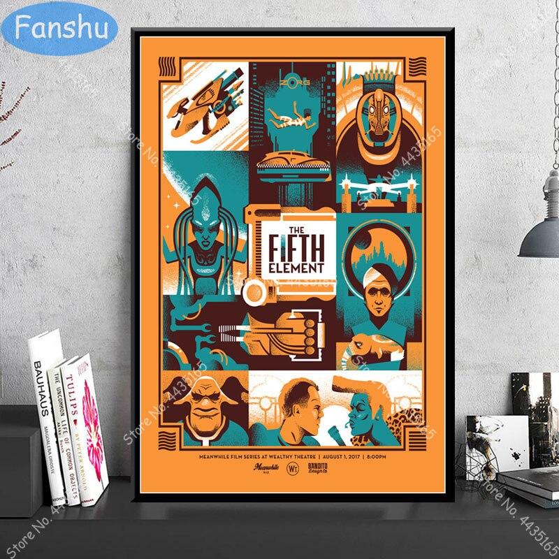 Cartaz de arte o quinto elemento clássico filme de ficção científica bruce willis cartazes e impressões decoração de parede lona sala de crianças casa arte deco