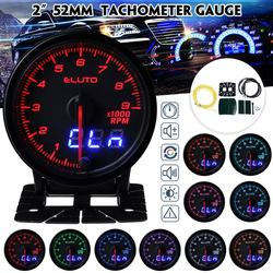 Eluto Car Universal 2 Cal 52mm obrotomierz RPM miernik cyfrowy i wskaźnik Pin podwójny wyświetlacz 10 kolorów LED przyciemniane twarz Tach|Tachometry|Samochody i motocykle -