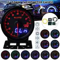 Eluto Car Universal 2 Inch 52mm Tachometer RPM Gauge Meter Digital & Indicator Pin Double Display 10 Color LED Tinted Face Tach