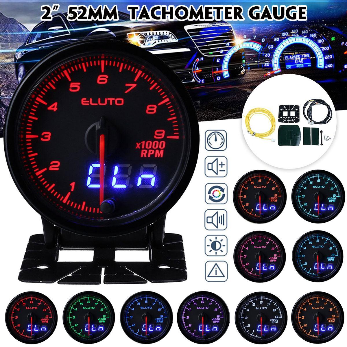 Tac/ómetro de 12V 9000 rpm Tacometro Retroiluminacion Digital de 60 mm con Soporte