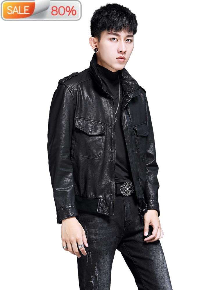 Men's 2020 Real Genuine Leather Jackets Sheepskin Coat Vintage Motorcycle Jacket Deri Mont YH9056 B24122