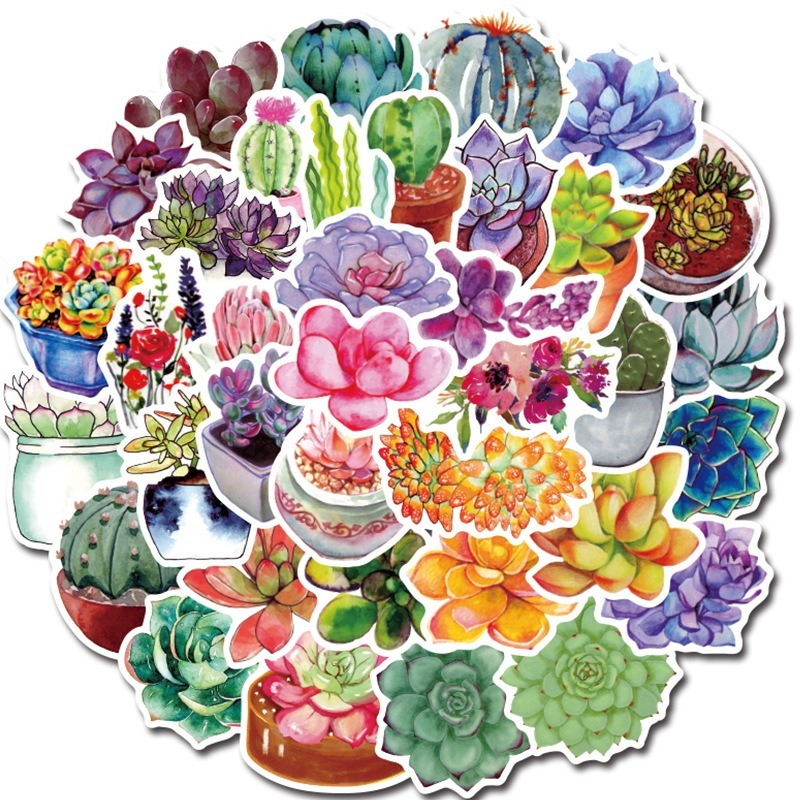 50Pcs/lot Succulent Cactus Mini Paper Sticker Decoration Stickers DIY For Craft Diary Scrapbooking Planner Kawaii Label Sticker