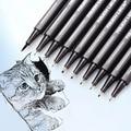 10 шт./партия водостойкий пигмент с тонкой подкладкой эскизная ручка черный маркер для рисования с иглой профессиональная Микронная ручка ш...