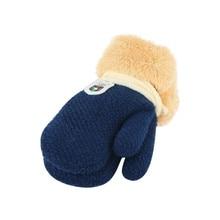 Новое поступление на зиму для маленьких мальчиков и девочек трикотажные спортивные Перчатки теплые веревку полный митенки для пальцев Перчатки для детей Дети X2