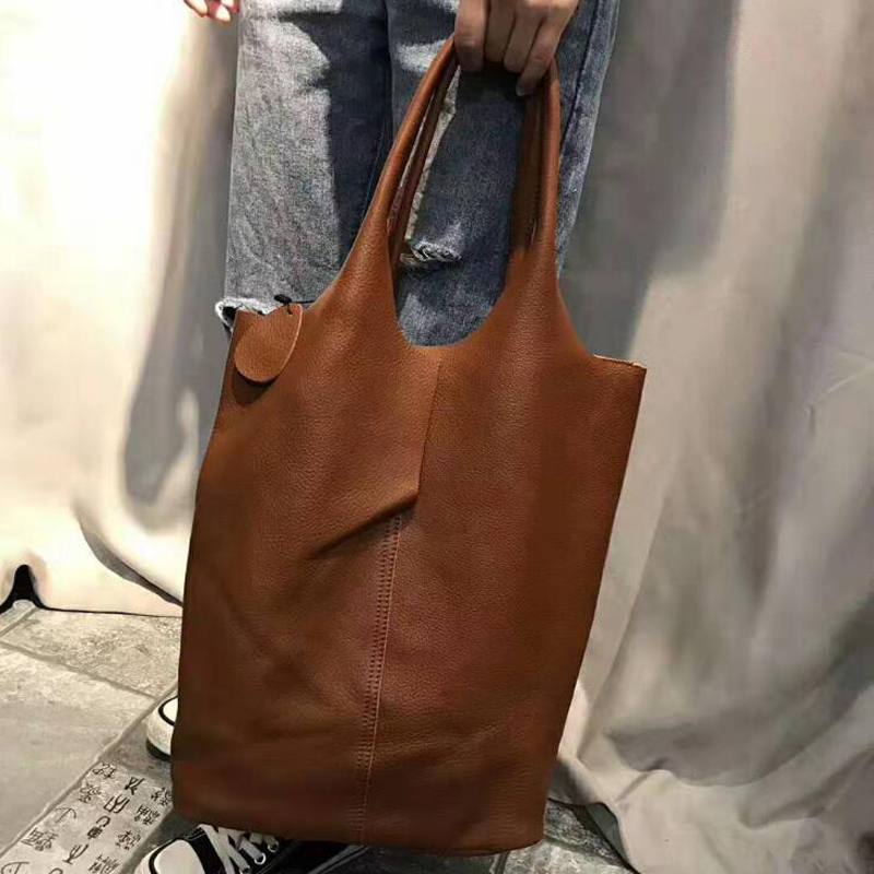 Genuine Leather Shoulder Bags Handbag Woman Vintage Cowhide Leather Composite Tote Shopping Bag Classic High Quality Bags