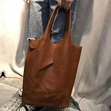 جلد طبيعي حقائب كتف حقيبة يد امرأة Vintage جلد البقر مركب حمل حقيبة تسوق حقائب عالية الجودة الكلاسيكية