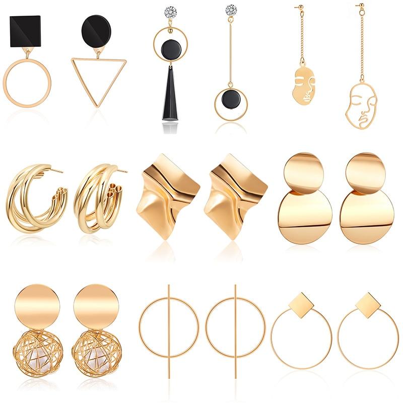 Золотые висячие серьги, корейские геометрические металлические серьги-подвески для женщин, женские ретро висячие серьги 2020, трендовые модн...