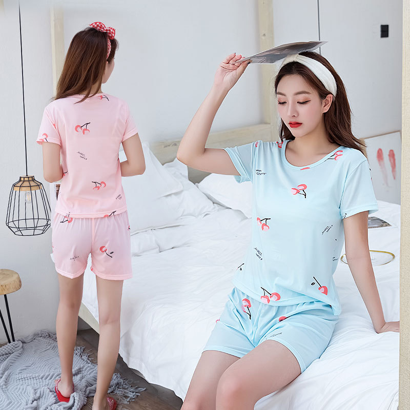 130G Qmilch Pajamas WOMEN'S Short Sleeved Shorts Oil Painting Strawberry Sweet Cute Women's Home Wear Plus-sized Set