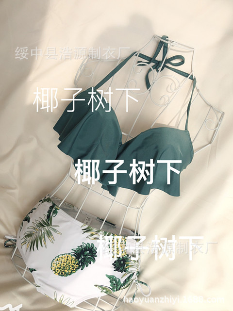 Bikini Swimsuit Bikinis Female 2019 Separate Swimsuits Swim Suits For Women New High Waist Push Ups Korean Leaf Retro Green on Aliexpress.com | Alibaba Group