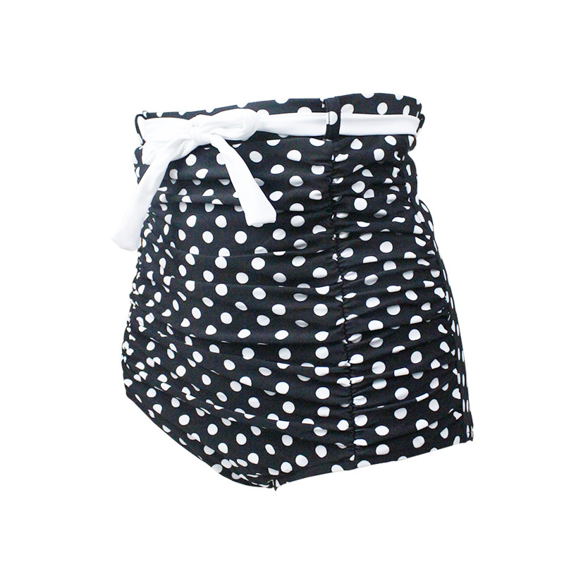 Large Size Pleated Hot Springs Polka Dot Swimming Trunks Women's High-waisted Triangular Belly Covering Slimming