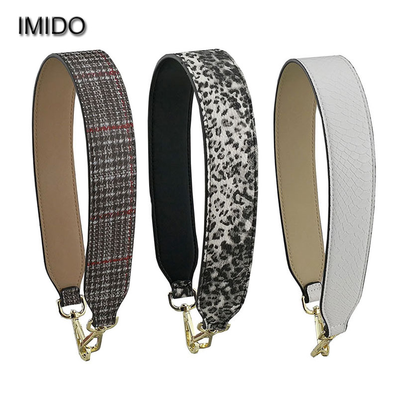 IMIDO 64cm Shoulder Bag Strap Replacement Pu Leather Handbag Belt Bag Short Strap Wide Tote Bag Accessory Parts Leopard STP166